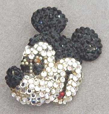 wendy gell rhinestone mickey mouse face pin