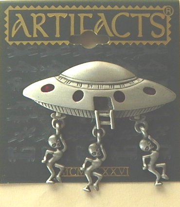 "JJ Artifact Alien Flying Saucer Pin 2"" x 2"""