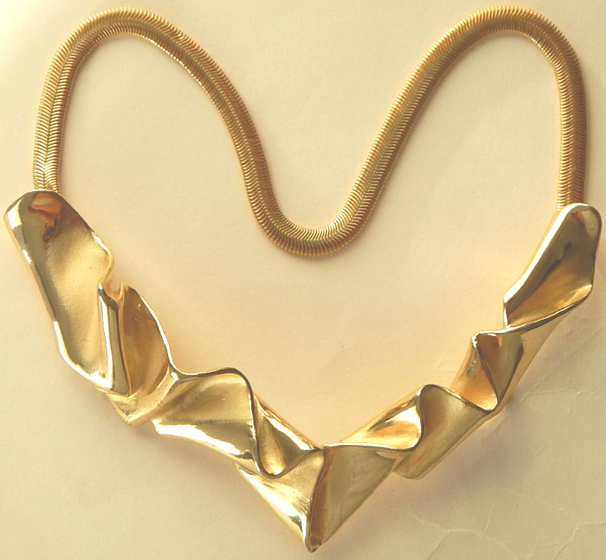 Les Bernard Goldtone Signed Necklace
