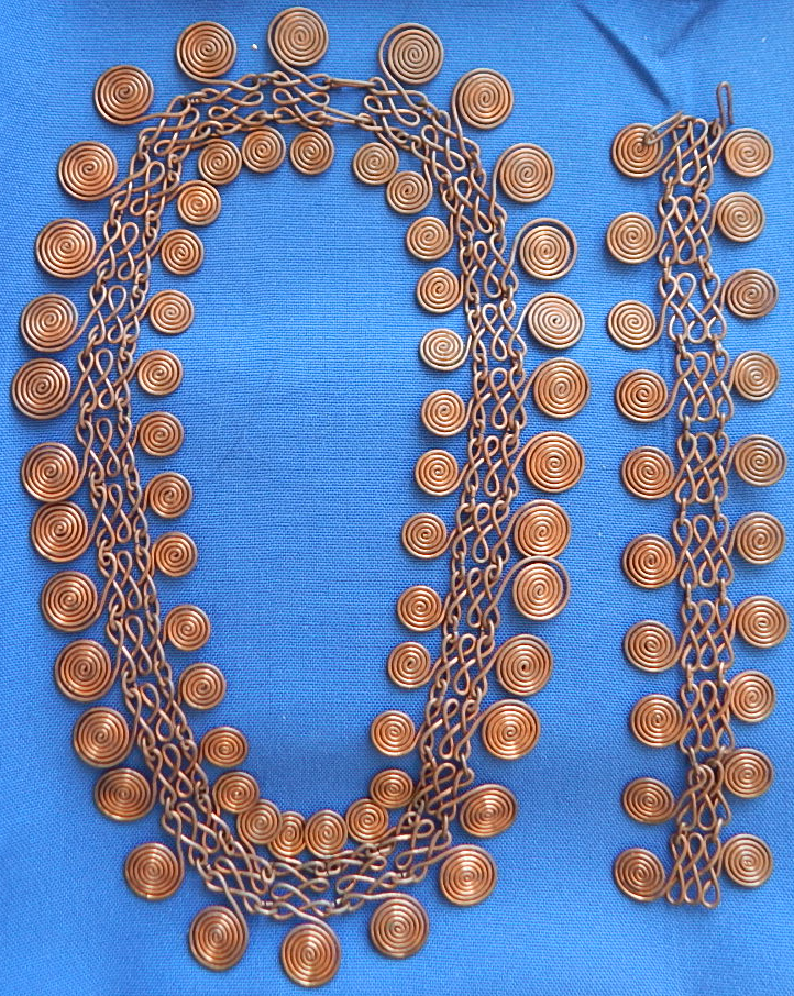 Vintage copper artisan made wire wrap necklace & bracelet
