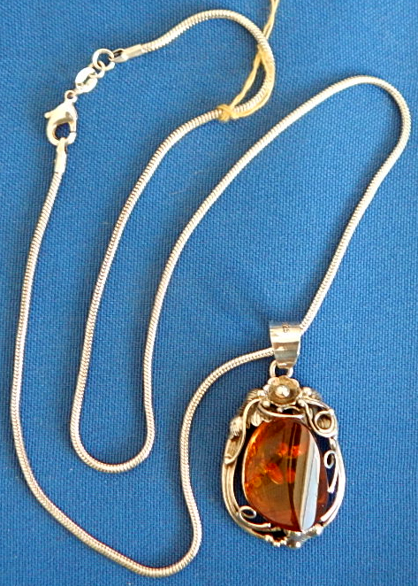 "Amber pendant 20"" sterling silver chain"