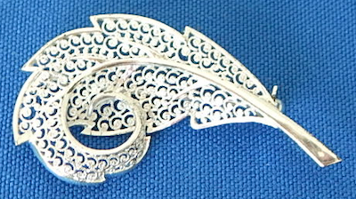 "Germany sterling 2"" lacey leaf pin"