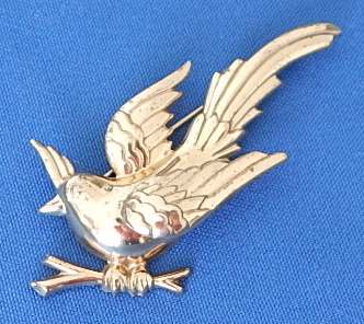 "Monet vintage sterling 3"" bird pin"