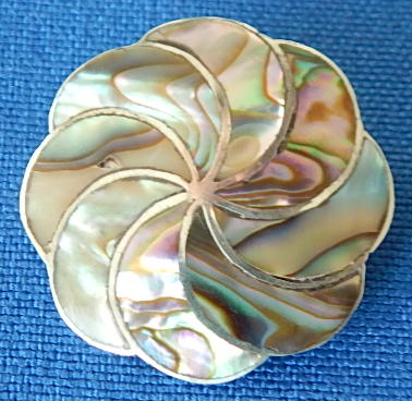 Mexican silver abalone pin