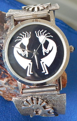 Kokopelli Watch with Silver designer band