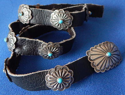 Navajo Pawn Jewelry Vintage Turquoise and hand crafted silver hat band