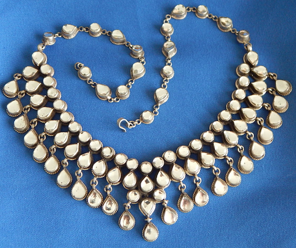 Silver & faceted mirror necklace from India