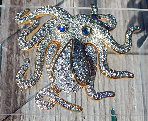 swarovski octopus pin