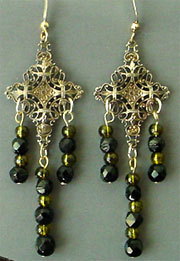 Filigree black crystal dangles