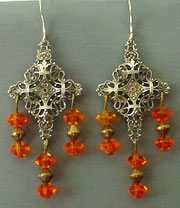Filigree orange acrylic dangles