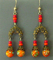 Orange bead dangles