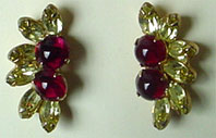 Carnegie yellow crystal red glad clip on earrings