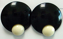 Plastic black & white clip on earrings
