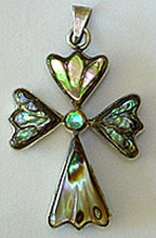 Mexico Taxco silver abalone cross