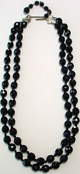 Vintage Austria black bead necklace