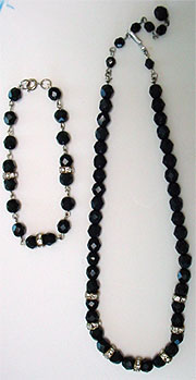 Vintage black bead bracelet, necklace