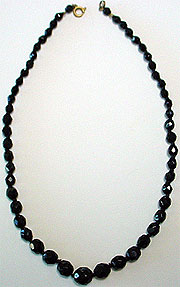 Vintage black bead necklace