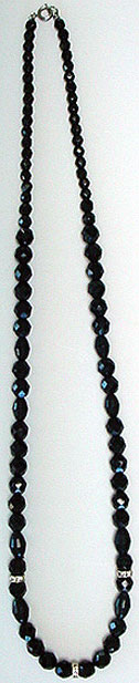 Black bead rhinestone necklace
