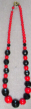 Vintage red and black glass bead choker