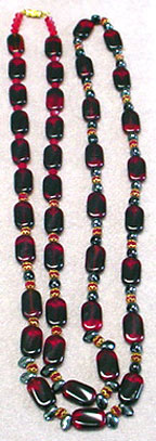 Red, black glass bead necklace